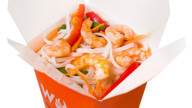 Креветки в перечном соусе с рисовой лапшой