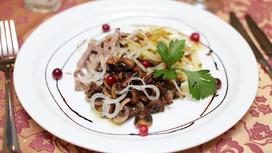 Салат из говяжьей вырезки с грибами