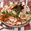 Ассорти из сала с маринованными овощами и чесночными гренками